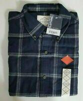 NWT St Johns Bay Mens Brushed Flannel Shirt Sz L Long Sleeve Navy/Grey Plaid Lrg