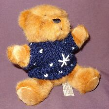 "Brown Teddy Bear Blue White Sweater Plush Stuffed Animal Toy 6"" Hugfun Int'l"