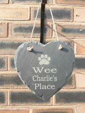 Personalised Pet Memorial Stone Slate Heart Plaque Dog Cat Rabbit Grave Marker