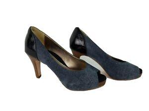 Dana Davis Womens Shoes Size 8B Blue Color Block Peep Toe Leather Pumps Heels