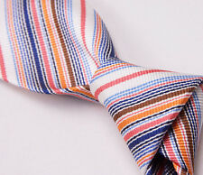 NWT $265 BATTISTI NAPOLI Hidden Pocket Silk Tie Blue-Orange-Pink Fine Stripe