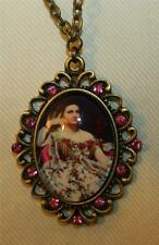 Lovely Scalloped Rim Pink Lounging Victorian Lady In Flowered Dress Necklace