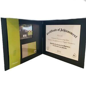 "Green Tree Gallery Diploma Photo Folio Frame 3 Openings 1- 8.5""x 11"". 2 6""x4"""