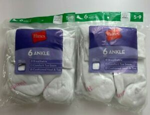 2 Hanes 6-Pack Women Ankle Socks 5-9 White w/ Colored Heels (Slightly Imperfect)