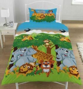 Jungle Friends Single Reversible Duvet Cover and Matching Pillowcase Set Kids