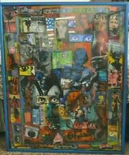 "* * THE EYES HAVE IT * * Mixed Media Collage by  DAVO SHERMAN *Framed 41"" x 33"""