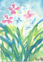 PINK & BLUE FLOWERS. Original Abstract Garden Watercolor Painting mini ART ACEO