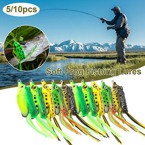 10/5x Soft Fishing Frogs Lures Large Topwater Crankbaits Hook Bass Bait Tackle