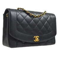 CHANEL Diana Quilted Single Chain Shoulder Bag Black Caviar Leather G03583g