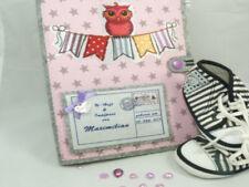 U-Heft Hülle Eule auf der Wimpelkette in rosa mit Sterne mit Postkarten Button
