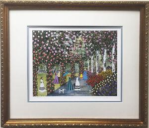 """Jane Wooster Scott """"Down the Garden Path"""" Hand Signed CUSTOM FRAMED ART Horse"""