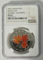 2001 CANADA $5 MAPLE LEAF - AUTUMN - NGC MS66 or SP66 /w ALL PACKAGING - SILVER