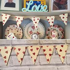 Wooden Decoupage Bunting handcrafted using Emma Bridgwater Hearts, Valentine's