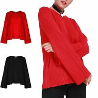 Womens Chunky Knitted Pullover Ladies Flared Long Sleeve Baggy Oversized Jumper