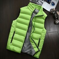 Winter Warm Mens Down Cotton Padded Sleeveless Jacket Vest Waistcoat Parka M-5XL