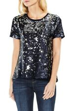 Two by Vince Camuto Sequin Knit Tee, Black Iris, XS MSRP $129