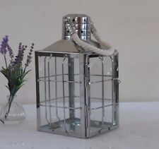 Large Stainless Steel Rope Nautical Hanging Silver Metal lantern Garden/ Wedding
