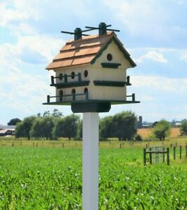 Large Martin Birdhouse Amish Handmade Post not included 14 Holes Beige and Green