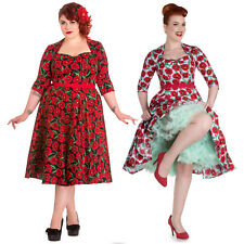 Hell Bunny Blue Red Poppy Floral 1950s Vintage Retro Rockabilly Day Dress