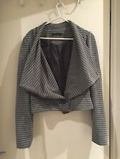 Women's Portmans Casual Soft Fabric Waterfall Jacket In Grey Size Large