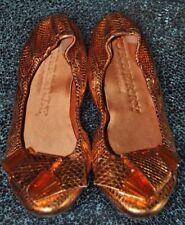 Burberry Orange Snake, Logo on Heel, Ballet Flats, Size 37.5