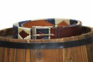 Argentinian Polo Belt Handmade Brown Leather Belts Blue 28'' - 48''(70cm-120cm)