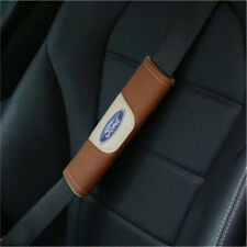 2X Car Seat Belt Shoulder Pads Covers Cushion For FORD Brown Breathe Leather