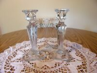BEAUTIFUL ELEGANT GLASS CANDLE HOLDERS TRIANGULAR WITH ETCHING