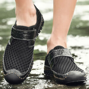 Men Sandals Hollow Out Mesh Shoes Flats Slip On Summer Moccasin Driving Shoes 43