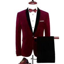 Men's 2Pcs  Burgundy Velvet Jacket Black Pants Tuxedo Suit Formal Wedding Suit