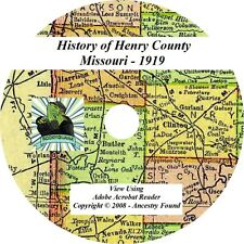 1919 - HENRY County Missouri MO - History & Genealogy Ancestry Family - CD DVD