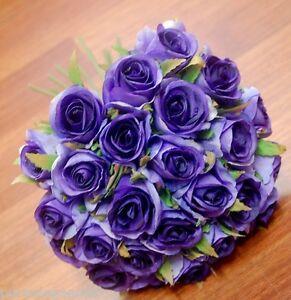 1x Silk Cadbury Purple Roses Rose Posy Wedding Flower Bouquet Flowers 26 heads