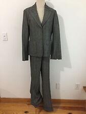 Saks Fifth Avenue Wool Blend Pant Suit Gray Herringbone Sz 12 Blazer & 10 Pants
