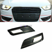 New For Audi A4 B9 2013+ Front Bumper Chrome Fog Light Grille Cover  Pair
