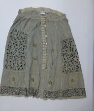Fashion Bug Womens Sz 22/24 Green/Beige Rayon Button Front Skirt Good Condition
