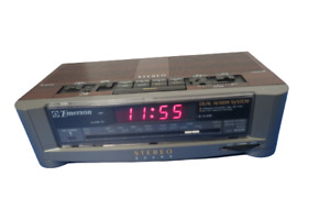 Vintage Emerson Dual Alarm Clock Stereo Sound Model AK2745 Tested Works Video