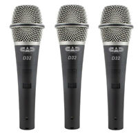 NEW CAD Audio CADLive D32 Supercardioid Dynamic Instrument Microphone, 3 Pack