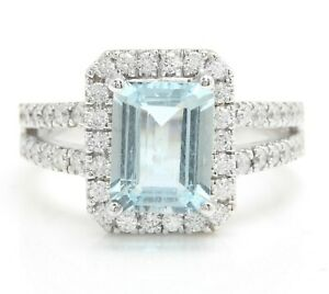 4.20 Carat Natural Blue Aquamarine and Diamonds in 14K Solid White Gold Ring