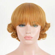 Vintage Retro Spiral Curly Wig Wigs Bouffant Perm Hair Short Gold Blonde