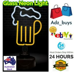 LARGE GLASS BEER LIGHT LAMP , VIBRANT COLOUR QUALITY Bar Club Man Cave Party