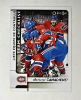 2017-18 17-18 O-Pee-Chee OPC Base Team Checklist #576 Montreal Canadiens