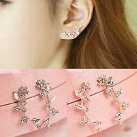 1 Pair Elegant Women Crystal Rhinestone Flower Leaves Ear Stud Fashion Earrings