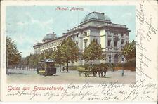 Braunschweig, Herzogl. Museum, Straßenbahn, Pferdewagen, alte Ak von 1903