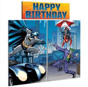 DC Comic Classic BATMAN Children's Party Scene Setter Wall Decorating Kit BONUS!