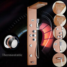 Thermostatic Stainless Steel Shower Panel Tower Rain&Waterfall Massage Body Jet