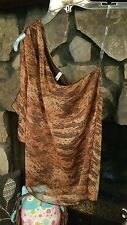 Women's Blouse Size S Brown Orange One-Shoulder My Beloved Brand Cute Dressy