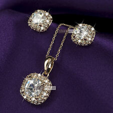 18k rose gold gf made with SWAROVSKI crystal stud earrings necklace set
