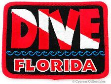 DIVE FLORIDA - EMBROIDERED PATCH SCUBA DIVING FLAG LOGO IRON-ON TRAVEL SOUVENIR