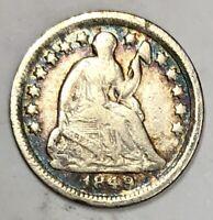 1849-O Liberty Seated Half Dime Fine - Very Fine ~ Toning