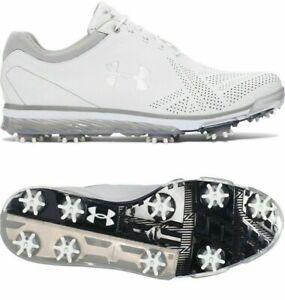 New Mens Under Armour UA Tempo Tour Golf Shoes White Silver 1270205-101 size 8